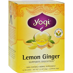HGR0355156 - Yogi Teas100% Natural Herbal Tea Caffeine Free Lemon Ginger - 16 Tea Bags - Case of 6