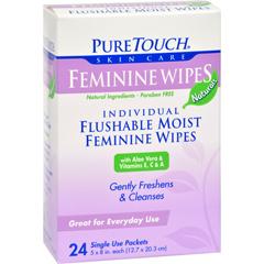 HGR0394072 - Puretouch Skin CarePuretouch Feminine Wipes Flushable - 24 Wipes