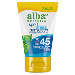HGR0401265 - Alba Botanical Very Emollient Sunscreen Natural Protection Sport SPF 45 - 4 oz