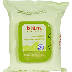HGR0411868 - Blum NaturalsOrganic Tea Tree Oil Towelettes - 30 Towelettes - Case of 3
