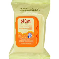 HGR0411926 - Blum NaturalsExfoliating Daily Cleansing Towelettes with Orange Peel - 30 Towelettes - Case of 3