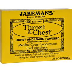 HGR0418608 - JakemansThroat and Chest Lozenges - Honey and Lemon - Case of 24 - 24 Pack