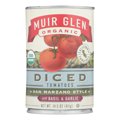 HGR0504084 - Muir Glen - Diced Tomatoes Basil and Garlic - Tomato - Case of 12 - 14.5 oz..