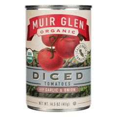 HGR0504183 - Muir Glen - Diced Tomatoes with Garlic and Onion - Tomato - Case of 12 - 14.5 oz..