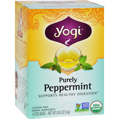 HGR0518423 - Yogi TeasOrganic Herbal Tea Caffeine Free Purely Peppermint - 16 Tea Bags - Case of 6