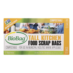 HGR0541839 - Biobag - 13 Gallon Tall Food Waste Bags - Case of 12 - 12 Count