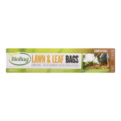 HGR0541854 - Biobag - 33 Gallon Lawn and Leaf Bags - Case of 12 - 5 Count