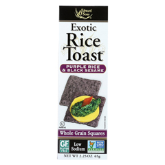 HGR0583922 - Edward & Sons - Exotic Rice Toast - Purple Rice and Black Sesame - Case of 12 - 2.25 oz.