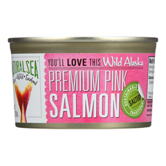 HGR0593384 - Natural Sea - Wild Pink Salmon - Salted - Case of 12 - 7.5 oz..