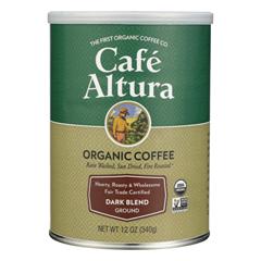 HGR0599050 - Cafe Altura - 100% Organic Fair Trade Dark Blend Coffee - Case of 6 - 12 oz.