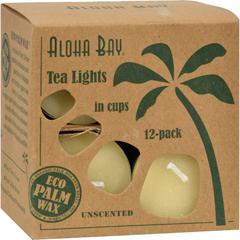 HGR0612622 - Aloha BayPalm Wax Tea Lights with Aluminum Holder Cream - 12 Candles