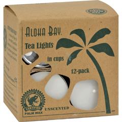 HGR0625624 - Aloha Bay - Palm Wax Tea Lights with Aluminum Holder - 12 Candles