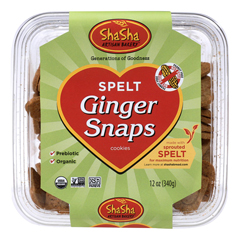 HGR0628958 - Shasha Bread - Organic Spelt Ginger Snap Cookies - Case of 16 - 12 oz.
