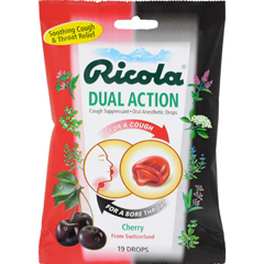 HGR0639872 - Ricola - Dual Action Cough Drops - Cherry - Case of 12 - 19 Pack