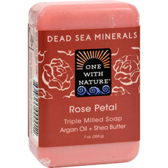HGR0650390 - One With Nature - Dead Sea Mineral Rose Petal Soap - 7 oz