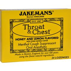 HGR0650424 - JakemansThroat and Chest Lozenges - Honey and Lemon - 24 Pack