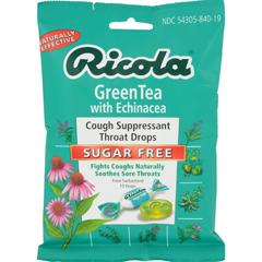 HGR0654731 - RicolaSugar Free Green Tea Cough Drops with Echinacea - 19 Drops - Case of 12