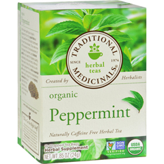 HGR0673905 - Traditional MedicinalsOrganic Peppermint Herbal Tea - Caffeine Free - Case of 6 - 16 Bags