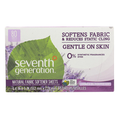 HGR0685669 - Seventh Generation - Natural Fabric Softener Sheets - Blue Eucalyptus and Lavender - Case of 12 - 80 Count