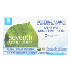HGR0685842 - Seventh Generation - Natural Fabric Softener Sheets - Free and Clear - Case of 12 - 80 Count