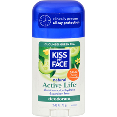 HGR0699884 - Kiss My FaceDeodorant Active Life Cucumber Green Tea Aluminum Free - 2.48 oz