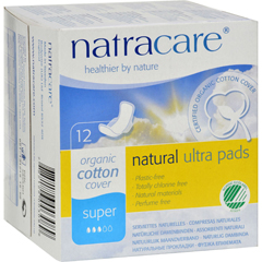 HGR0735654 - NatracareNatural Ultra Pads Organic Cotton Cover - Super - 12 Pack