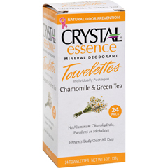 HGR0793067 - CrystalMineral Deodorant Towelettes Chamomile and Green Tea - 24 Towelettes