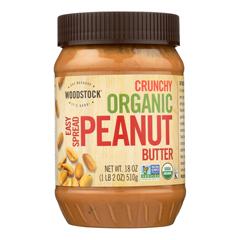 HGR0843631 - Woodstock - Organic Easy Spread Peanut Butter - Crunchy - Case of 12 - 18 oz..