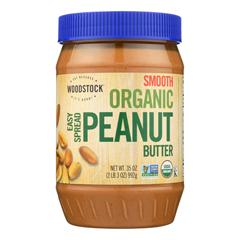 HGR0843748 - Woodstock - Organic Easy Spread Peanut Butter - Smooth - Case of 12 - 35 oz..