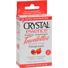 HGR0934828 - CrystalMineral Deodorant Towelettes Pomegranate - 6 Towelettes