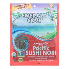 HGR0939132 - Emerald Cove - Organic Pacific Sushi Nori - Toasted - Silver Grade - 10 Sheets - Case of 6