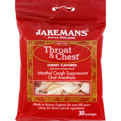 HGR0965491 - JakemansThroat and Chest Lozenges - Cherry - Case of 12 - 30 Pack