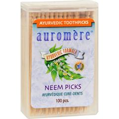 HGR1055441 - AuromereAyurvedic Neem Picks - 100 Toothpicks - Case of 12