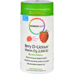 HGR1095553 - Rainbow LightBerry-D-Licious Vitamin D3 Ripe Raspberry - 2500 IU - 50 Gummies