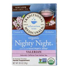 HGR1101336 - Traditional Medicinals - Organic Herbal Tea - Nighty Night Valerian - Case of 6 - 16 Bags