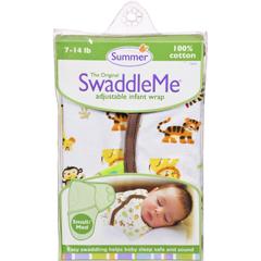 HGR1125269 - Summer InfantSwaddleMe Adjustable Infant Wrap - Small/Medium 7 - 14 lbs - Jungle White