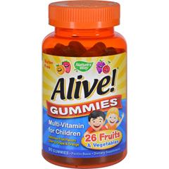 HGR1131275 - Nature's WayAlive Gummies Multi-Vitamin for Children Natural Cherry, Grape and Orange - 90 Gummies