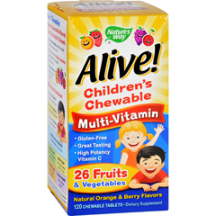HGR1131317 - Nature's WayAlive Childrens Multi-Vitamin Chewable Natural Orange and Berry - 120 Chewable Tablets