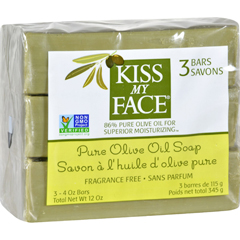 HGR1141837 - Kiss My Face - Pure Olive Oil Moisturizing Soap - Pack of 3 - 4 oz