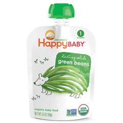 HGR1191642 - Happy BabyFood - Organic - Starting Solids - Green Beans - 4 Plus Months - Stage 1 - 3.5 oz - Case of 16