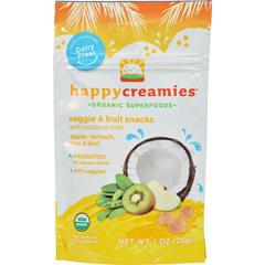 HGR1191683 - Happy BabyHappy Creamies Organic Snacks - Apple Spinach Pea Kiwi - Case of 8 - 1 oz