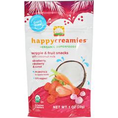 HGR1191691 - Happy BabyHappy Creamies Organic Snacks - Strawberry and Raspberry - Case of 8 - 1 oz