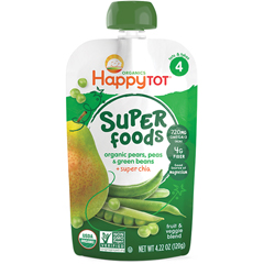 HGR1196260 - Happy BabyHappy Tot Baby Food - Organic - Green Beans Pear and Pea - 4.22 oz - Case of 16
