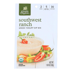 HGR1234681 - Simply Organic - Dip Mix - Organic - Greek Yogurt - Southwest Ranch - 1 oz.. - case of 12