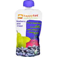 HGR1251214 - Happy BabyHappy Tot Baby Food - Organic - Blueberry Pear and Beet - Stage 4 - 4.22 oz - Case of 16