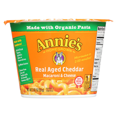 HGR1254838 - Annie's Homegrown - Real Aged Cheddar Microwavable Macaroni and Cheese Cup - Case of 12 - 2.01 oz.