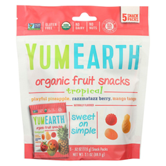 HGR1420124 - Yummy Earth - Organic - Raspberry - Pineapple - Mango - Case of 12 - 3.1 oz.