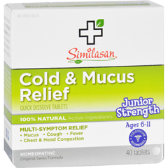 HGR1553981 - SimilasanCold and Mucus Relief - Junior Strength - Ages 6 to 11 - 40 Tabs