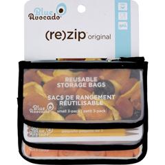HGR1582089 - Blue Avocado - Snack Zip Bag - Black - 3 Pack