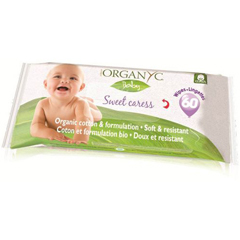 HGR1600329 - OrganycBaby Wipes - 100 Percent Organic Cotton - Sweet Caress - 60 Count